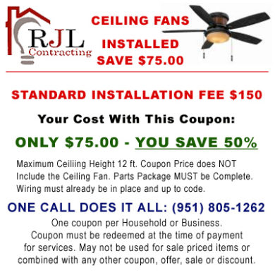 Coupon for Ceiling Fan Installation in Murrieta